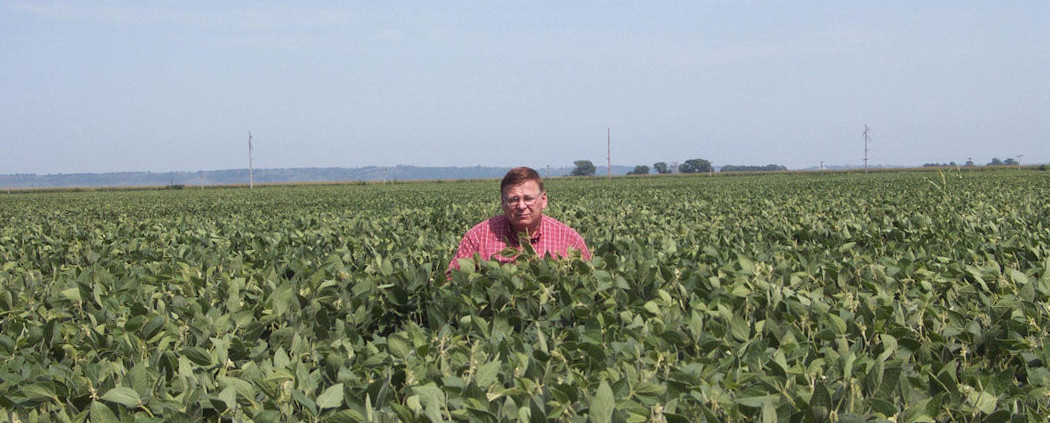 Salesman Gene standing in our soybean field. They yielded 100bu./A